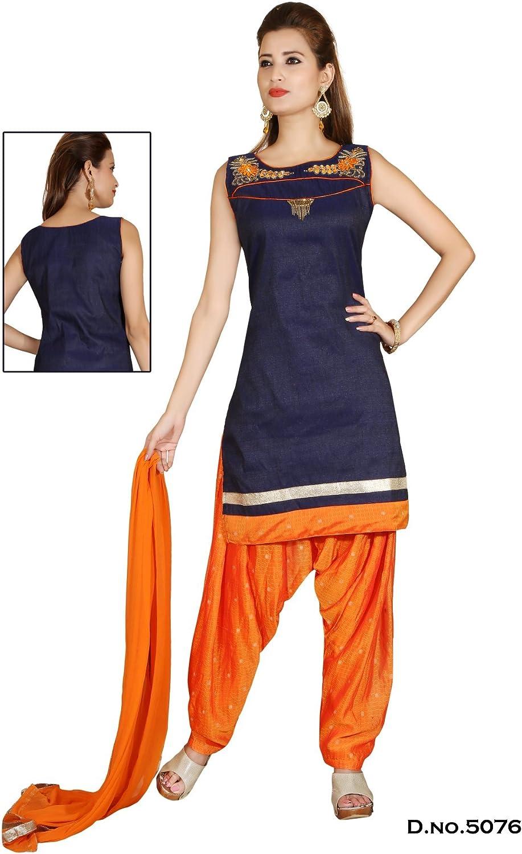 Raj moda Designer Ready fatto Salwar KAMEEZ-blu-RAFM5076-MM-Satin, Satin