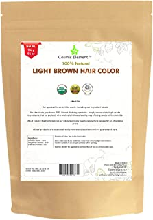 Light Brown USDA Organic Hair Coloring Powder - Triple Sifted Henna Powder - Lawsonia Inermis (For Hair) - No PPD no chemicals, no parabens (4 oz, Light Brown)