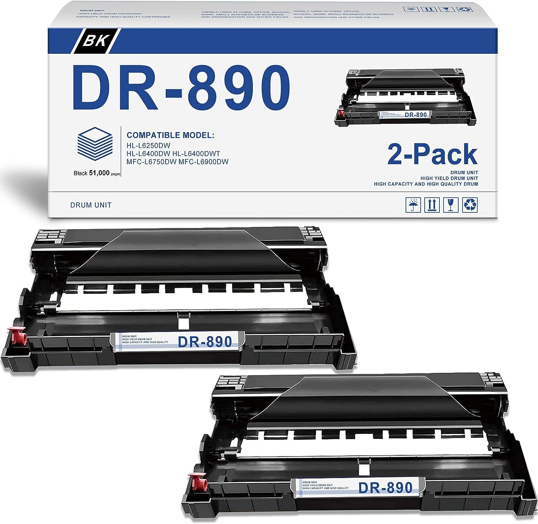 [Black,2-Pack] Compatible DR-890 DR890 Drum Unit Replacement for Brother HL-L6250DW HL-L6400DW HL-L6400DWT MFC-L6750DW MFC-L6900DW Printer