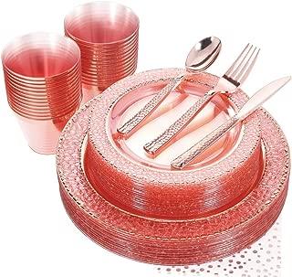 NERVURE 175PCS Pink with Rose Gold Rim Disposable Plastic Plates Set: 25 Dinner Plates,25 Dessert Plates, 25 Forks,25 Knives, 25 Spoons, 25 Cups,25 Napkins.