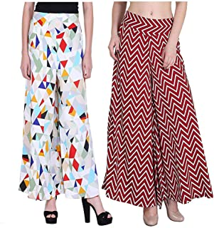 Fraulein Crepe Printed Flared Wide Leg Opening Bottom with Inner Lining and One Pocket Palazzos/Trouser for Women (Pack of 2)