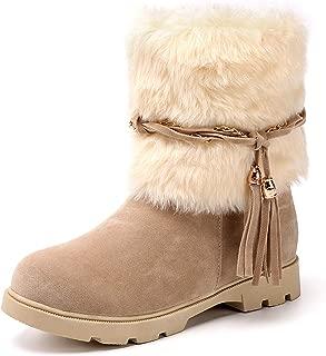 Women's Fashion Warm Short Booties Outdoor Suede Flat Waterproof Faux Fur Snow Boots