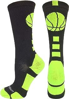 MadSportsStuff Basketball Socks with Basketball Logo Athletic Crew Socks (Over 20 Colors)