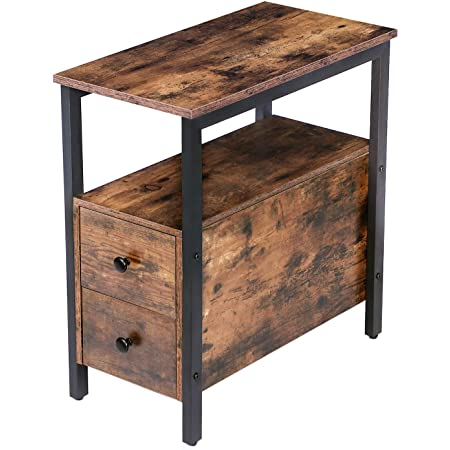 Amazon Com Hoobro End Table Chairside Table With 2 Drawer And Open Storage Shelf Narrow Nightstand For Small Spaces Stable And Sturdy Construction Wood Look Accent Furniture Rustic Brown And Black Bf54bz01 Kitchen