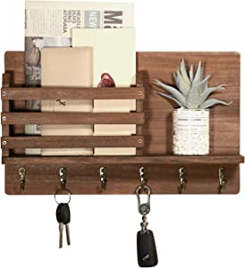 Triwol Entryway Mail Envelope Organizer Wall Mounted with 6 Key Hooks, Rustic Wood Key Mail Holder for Wall, Dog Leash Hanging, Cap Rack, Letter or Newspaper Storage, Decorative Floating Shelf