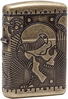Zippo Adult-Unisex 29268 Armor Multi Cut Antique Brass Steampunk Skull Lighter, Gold
