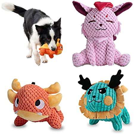 UNIWILAND Latest Squeaky Plush Dog Toys Pack for Puppy, 3 Pack Durable Stuffed Animal Plush Chew Toys with Squeakers, Cute Soft Dog Toys for Teeth Cleaning, for Small Medium Large Dogs