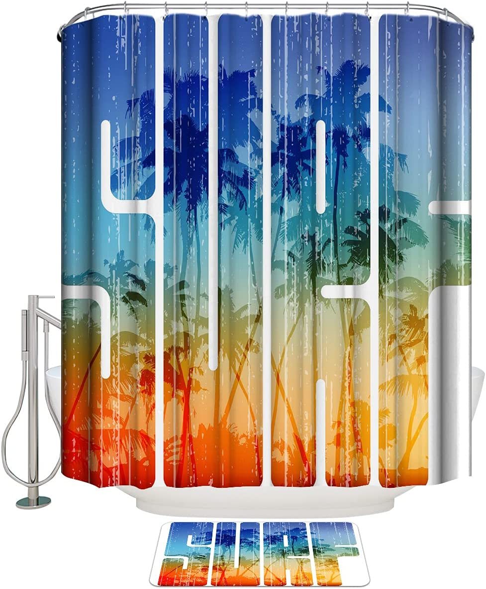 Super special price COLORSUM Shower Curtain Sets with Ranking TOP13 Sunset Beach Vie Rugs Non-Slip