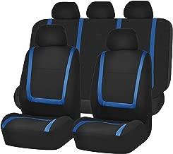 FH Group FH-FB032115 Unique Flat Cloth Seat Covers, Blue/Black Color- Fit Most Car, Truck, SUV, or Van