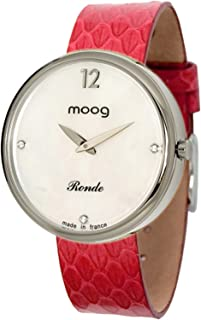 Moog Paris Ronde Vogue Women's Watch with Black & Rose Gold/Gold/White Dial, Gold/Brown Leather Strap & Swarovski Elements