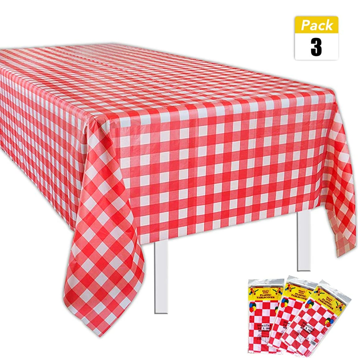 Set of 3 Plastic Red and White Checkered Tablecloths - Picnic Table Covers 54