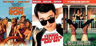 Trips Funny Comedy Retro Movies Captain Ron Kurt Russell / Ferris Bueller's Day Off John Hughs + Don't Tell Mom the Babysitter's Dead DVD Fun movie Set Three Pack Film Feature Bundle