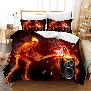 Earendel Rock Music Duvet Cover Set Rock Band Bedding Heavy Metal Bass Guitar Rap Bed Sets 2/3/4PCS Colorful Quilt Covers/Sheets/Pillowcases,Twin/Full/Queen/King Size (6,Twin-172x218cm-3PCS)