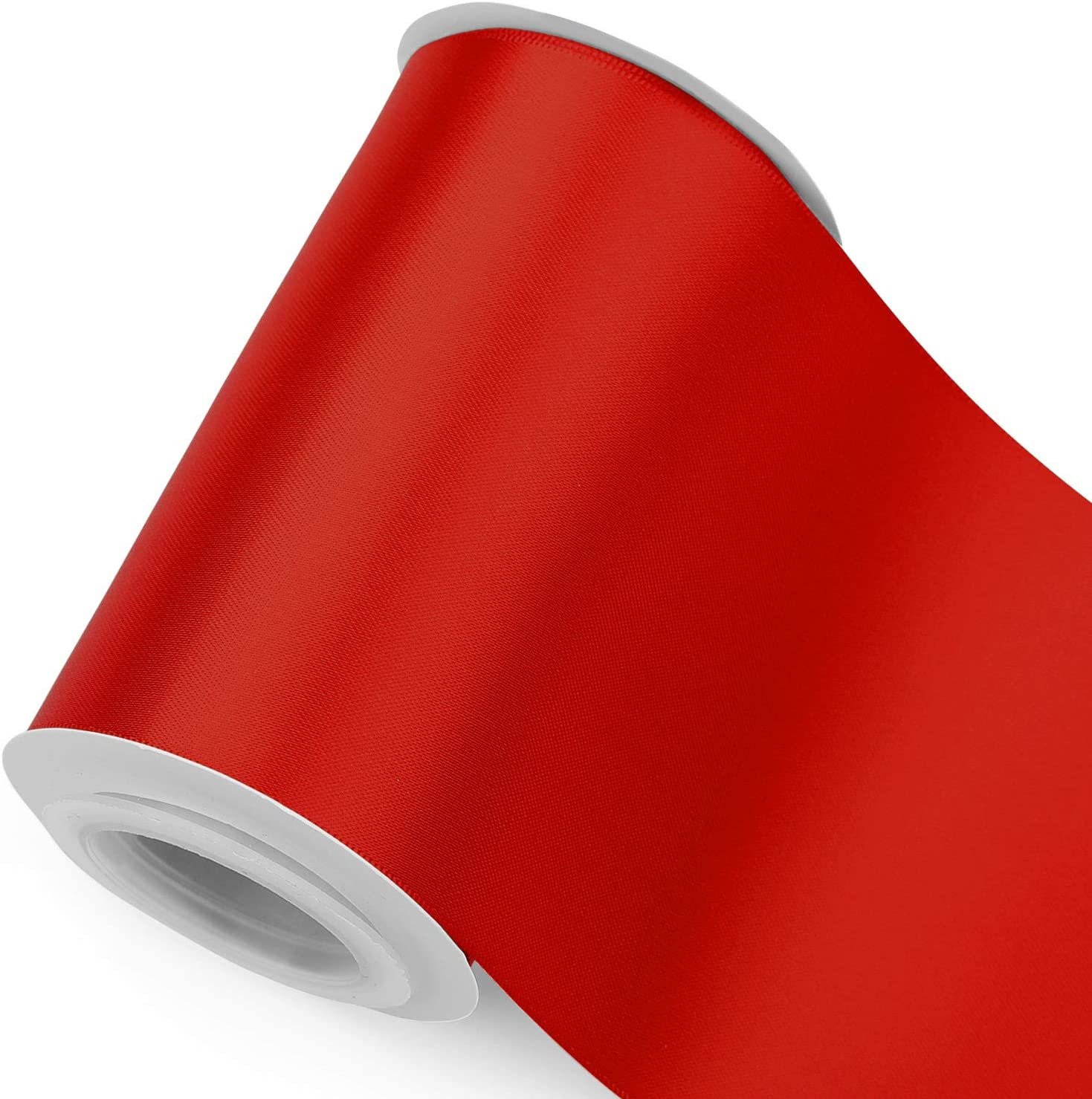 Humphrey's Craft 4 Inch Scarlet Red Double Faced Satin Ribbon - 5 Yards Variety of Color for Crafts Grand Opening Cutting Ceremony Decoration Sewing Chair Sash Wedding and Dining Tables.