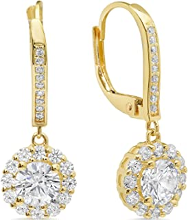 3.45ct Brilliant Round Cut Halo Solitaire Highest Quality Moissanite & Simulated Diamond Unisex Anniversary Gift Lever back Drop Dangle Earrings Real Solid 14k yellow Gold