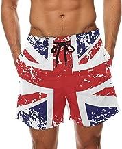 DEYYA Retro Union Jack UK Flag Summer Beach Shorts Pants Men's Swim Trunks Board Short for Men