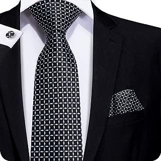 Mens Silver Black Grey Tie Pocket Square and Cufflinks Tie Set Christmas Gift Box