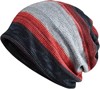 Jemis Womens Cotton Chemo Hat Beanie Scarf - Beanie Cap Bandana for Cancer (Black Gray Red)