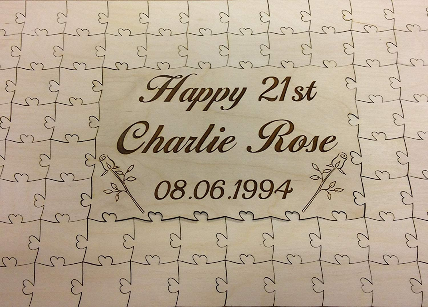 Personalised wooden 16th 18th 21st happy birthday jigsaw puzzle keepsake gift (134 pieces)
