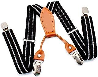 WJUAN Bretelles 4 Clips- 25 mm de Large Bretelles Durables 2-6 ans Garçons et Filles Pantalons et Jupes Confortables Élast...