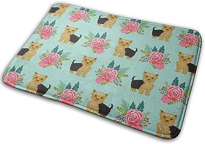 """Yorkie Flowers Florals, Yorkshire Terrier, Yorkies, Cute Yorkie For Dog Owners Yorkie Owner Must Have Accessories For Dogs_17661 Doormat Entrance Mat Floor Mat Rug Indoor/Outdoor/Front Door/Bathroom Mats Rubber Non Slip 23.6"""" X 15.8"""""""