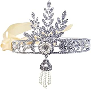 Wiipu The Great Gatsby Bridal Bridesmaids Flower Ivory Pearl Ribbon Hair Tiara Headband Crown(N103)
