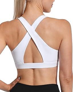 WALK FIELD Women's Criss Cross Sports Bras - Padded Wirefree Yoga Bra Backless Fitness Workout Bra