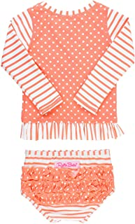 Baby/Toddler Girls Long Sleeve Rash Guard 2-Piece Swimsuit Set - Stripes Polka with UPF 50+ Sun Protection