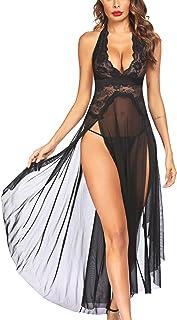 Avidlove Women Lingerie Deep V Neck Nightwear One Piece Sexy Nightgowns Mosaic Lace Mesh Dress