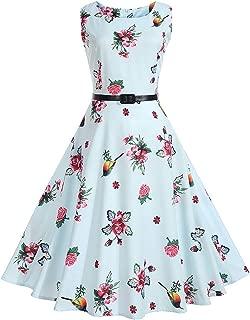 Women Dress Spring and Summer Flaral Fruit Printing Sleeveless Belt Retro Dress