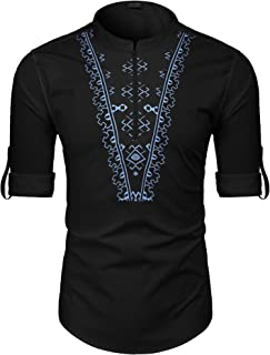 Men's Slim Fit Hippie Shirt Long Sleeve Floral Print Casual Zip Up Cotton Beach Party Henley T Shirt