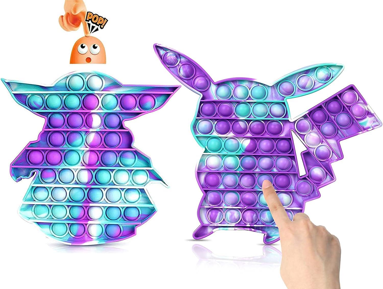 2 Pack Push Pop Bubble Sensory Fidget Toys, Baby Yoda  Pi-ka-ch