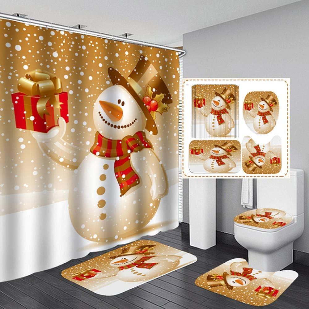 Bathroom Set Cheap SALE Start Snowman Discount is also underway Santa Claus Pattern Waterproof Elk C Shower