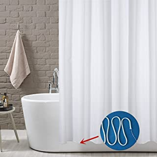 YOLOPLUS Shower Curtain Liner White 80 x 80 Inch Weighted Hem Extra Long Water-Repellent Polyester Fabric With 12 Hooks Included for Bathroom Showers and Hotel/Gym/Swimming Pool