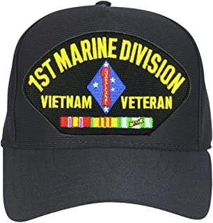Armed Forces Depot 1st Marine Division Vietnam Veteran Baseball Cap. Black. Made in USA