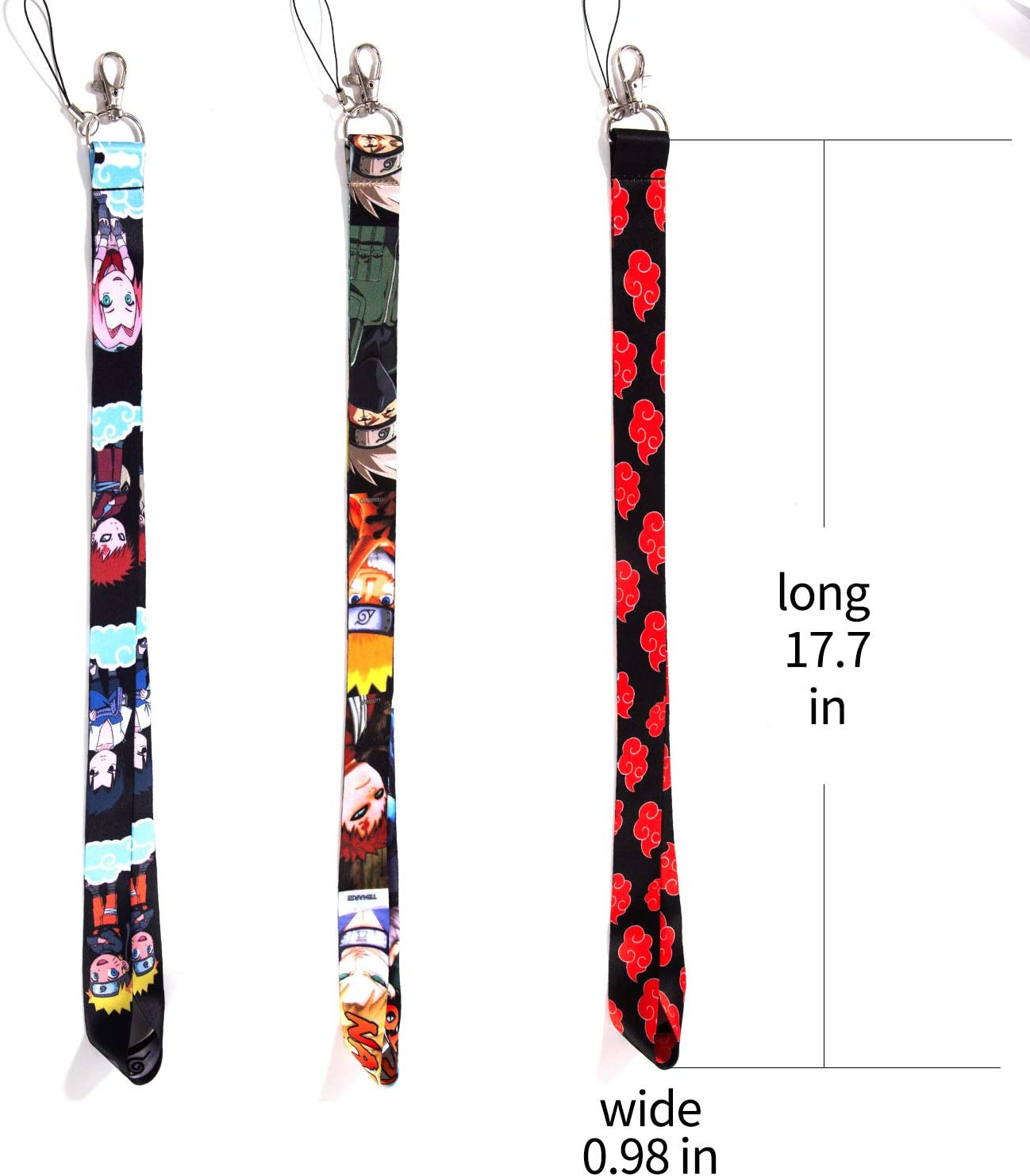 Naruto Anime Keychains,Keychain Lanyard,ID Holder for Badge,Anime Lanyard, 1 Red and Black
