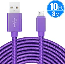 ebulous 10ft/3m Extra Long Micro USB Charging Cable, Premium Nylon Braided Android Charger USB 2.0A High Speed Data Sync Cord for Android Devices/Samsung/Motorola/Table/Windows/Camera/Reader