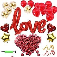 YLIANG Set de Deco para el Día de San Valentín - Globo de Love XXL Mega, Pétalos de Rosa de 500 Piezas para un Ambiente Romántico y Decoración de Bodas