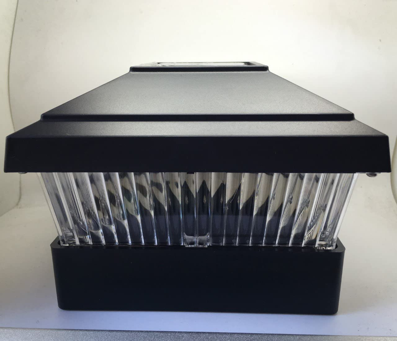 Set Free shipping of 2 Directly managed store Solar Powered LED Post Light Black Fence Square Plastic