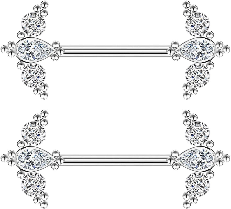 CHARM ONLINE 14G Nipple Ring 316L Surgical Steel Shiny CZ Nipple Barbell Body Piercings Jewelry for Women Men