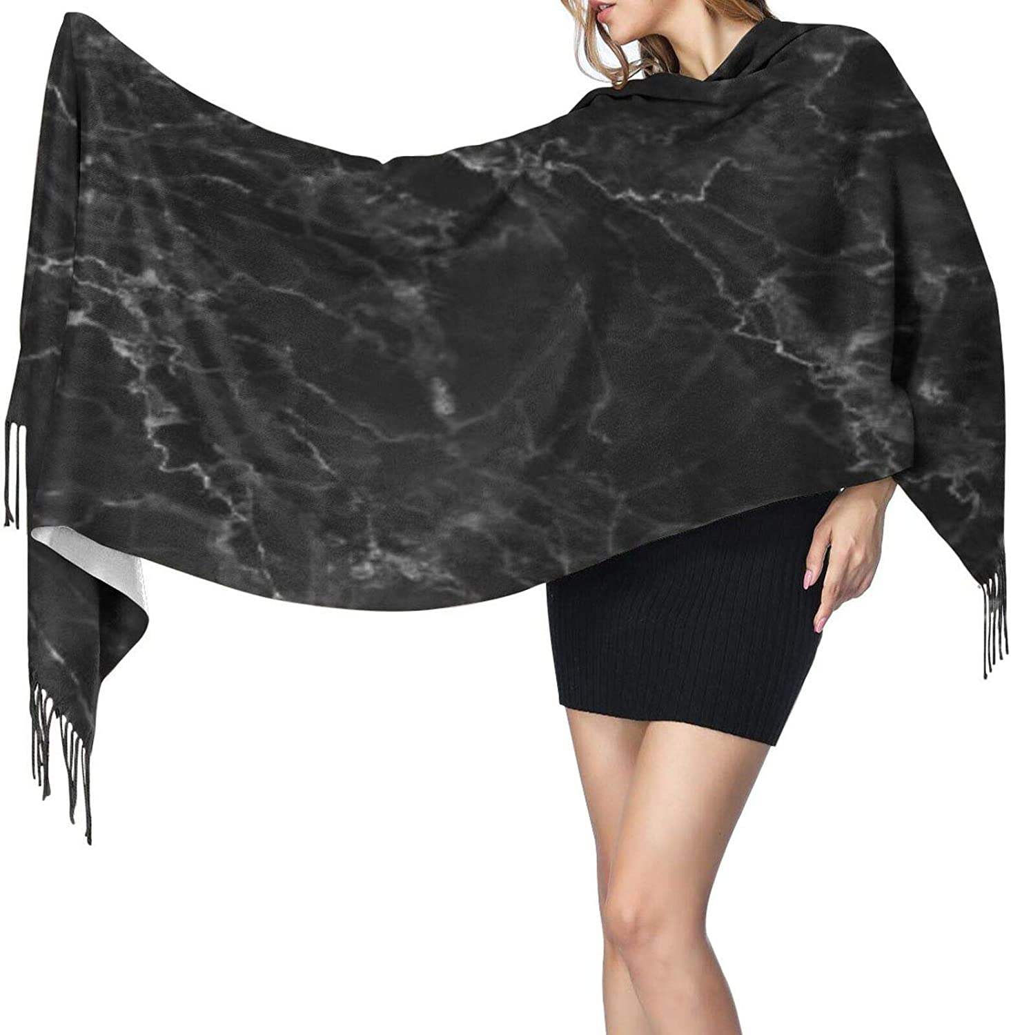 Cashmere fringed scarf black marble texture winter extra large scarf