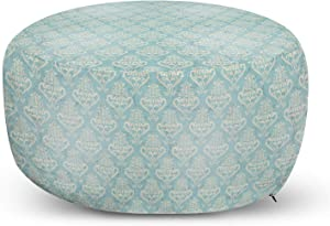 Ambesonne Turquoise Ottoman Pouf, Vintage Medieval Grunge Floral Illustration Abstract Classic Pattern, Decorative Soft Foot Rest with Removable Cover Living Room and Bedroom, Bluegrey Cream