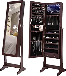SONGMICS 6 LEDs Jewelry Cabinet Large Mirrored Jewelry...