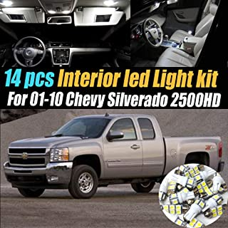 14Pcs White 6000K Interior LED Light Kit Pack Compatible for 2001-2010 Chevrolet Silverado 2500HD