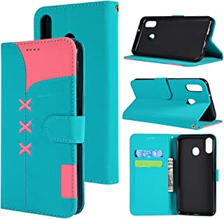 SHUHAN Mobile Phone Case for Galaxy Fabric Stitching Embroidery Horizontal Flip Leather Case With Holder & Card Slots & Wallet for Galaxy M20(Red) (Color : Light Blue)