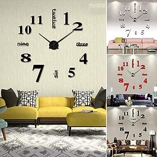 Eadear Frameless DIY Wall Clock, Mute Round Shape Quartz Wall Clock Sticker Home Decorative Clock Wall Clocks