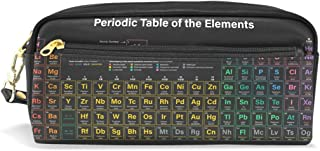 ALAZA Periodic Table of The Elements Pencil Case Zipper PU Leather Pen Bag Cosmetic Makeup Bag Pen Stationery Pouch Bag Large Capacity