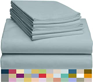 LuxClub 4 PC Microfiber and Bamboo Sheet Set: Bamboo Bedding Sheets with Microfiber - Softer and More Breathable Than Cotton - Antibacterial and Hypoallergenic - Machine Washable, Light Teal, Queen