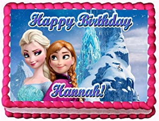 """Frozen """"Ice Palace"""" 1/4 Sheet Edible Photo Birthday Party Cake Topper~ Personalized!"""