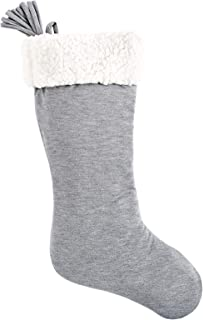 SplendidHome Sherpa and Jersey Christmas Stocking Heather Grey